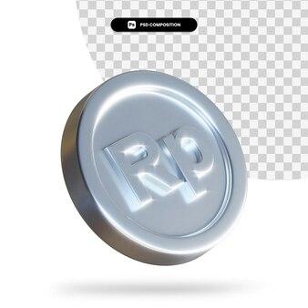 Moeda de moeda em 3d renderização isolada