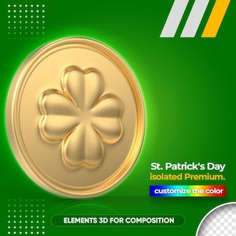 Moeda de ouro 3d para renderização do dia de são patrício
