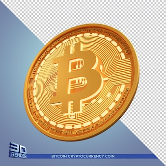 Moeda de ouro bitcoin criptomoeda renderização 3d isolada