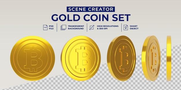 Moeda de ouro bitcoin definida em renderização 3d isolada