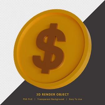 Moeda de ouro, dólar, renderização 3d