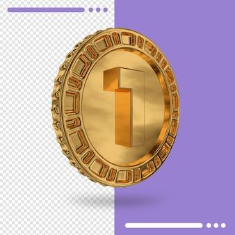 Moeda de ouro e renderização 3d número 1