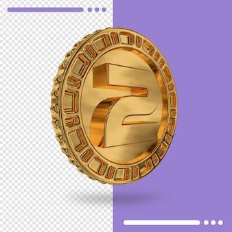 Moeda de ouro e renderização 3d número 2