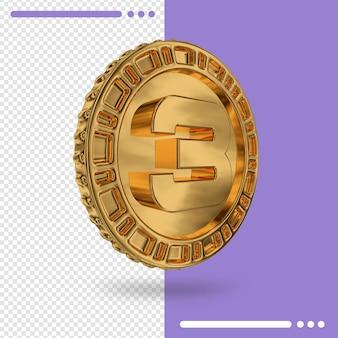 Moeda de ouro e renderização 3d número 3