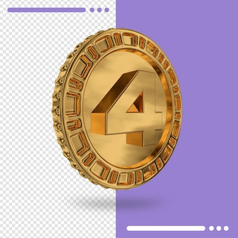 Moeda de ouro e renderização 3d número 4