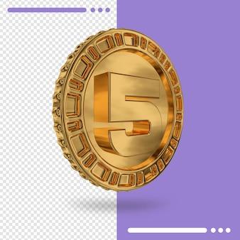 Moeda de ouro e renderização 3d número 5