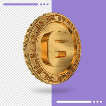 Moeda de ouro e renderização 3d número 6