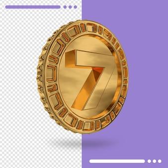 Moeda de ouro e renderização 3d número 7