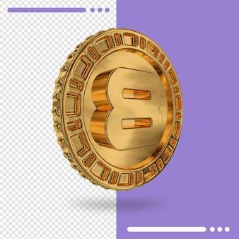 Moeda de ouro e renderização 3d número 8