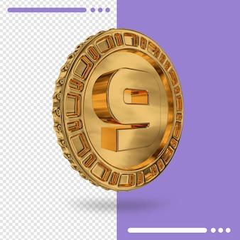 Moeda de ouro e renderização 3d número 9