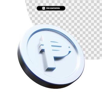 Moeda de peso de prata 3d renderização isolada