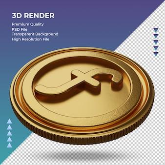 Moeda do florim holandês símbolo da moeda ouro renderização em 3d vista direita