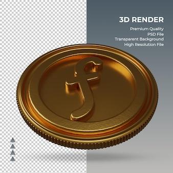 Moeda do florim holandês símbolo da moeda ouro renderização em 3d vista esquerda