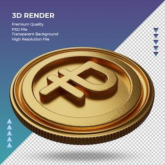 Moeda do rublo russo símbolo da moeda ouro renderização em 3d vista direita