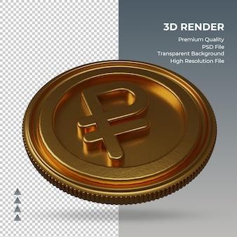 Moeda do rublo russo símbolo de moeda ouro renderização em 3d vista esquerda