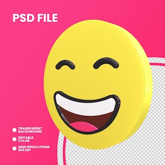 Moeda emoji 3d renderização isolada olhos sorridentes