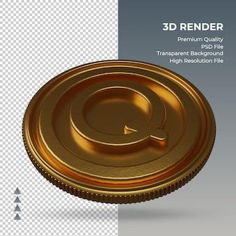 Moeda guatemala quetzal símbolo monetário ouro renderização em 3d vista esquerda