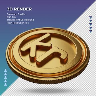 Moeda krone símbolo de moeda ouro renderização em 3d vista direita