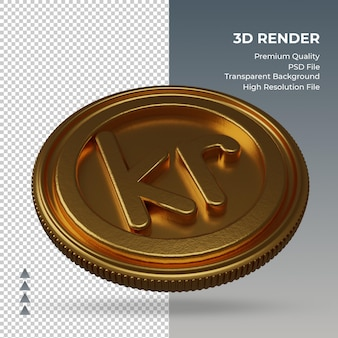 Moeda krone símbolo de moeda ouro renderização em 3d vista esquerda