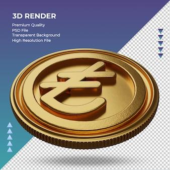 Moeda lira turca, símbolo da moeda ouro, renderização em 3d, vista direita