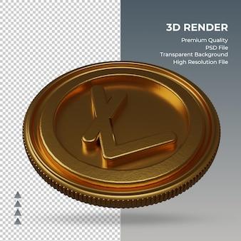 Moeda litecoin, símbolo da moeda ouro, renderização em 3d, vista esquerda
