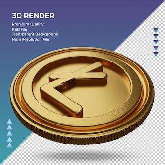 Moeda litecoin símbolo de moeda ouro renderização em 3d vista direita