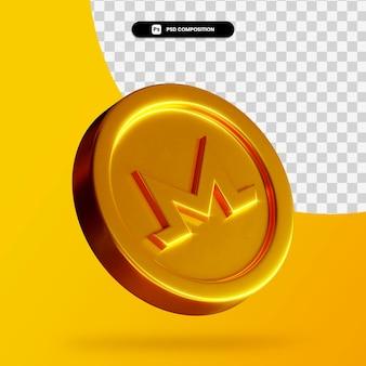 Moeda monero dourada 3d renderização isolada