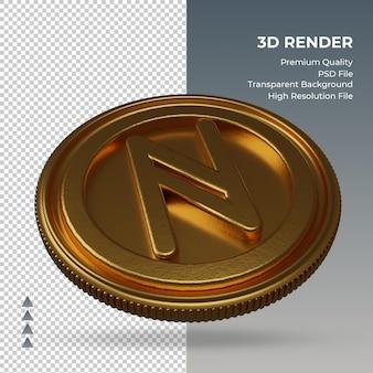 Moeda namecoin, símbolo da moeda ouro, renderização em 3d, vista esquerda
