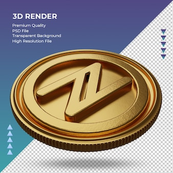 Moeda namecoin símbolo de moeda ouro renderização em 3d vista direita