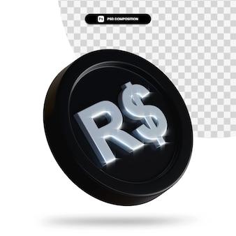 Moeda preta de câmbio renderização em 3d isolada