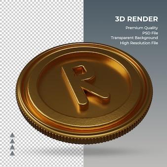 Moeda rand sul-africano, símbolo da moeda ouro, renderização em 3d, vista esquerda