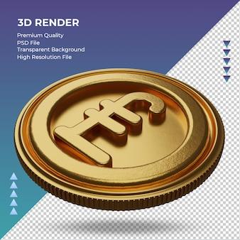 Moeda uk libra símbolo de moeda ouro renderização em 3d vista direita