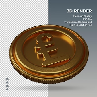 Moeda uk libra símbolo de moeda ouro renderização em 3d vista esquerda