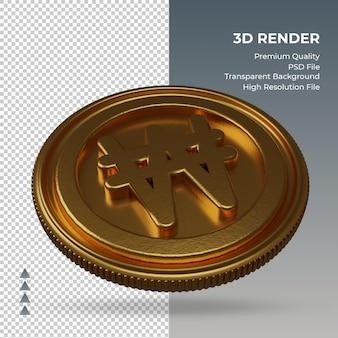 Moeda won coreano, símbolo da moeda ouro, renderização em 3d, vista esquerda