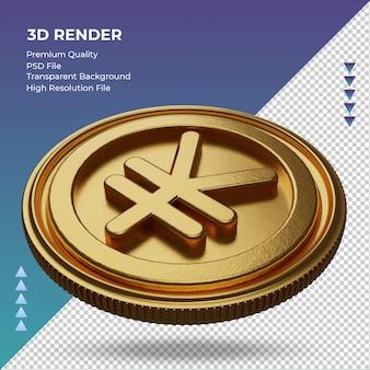 Moeda yuan chinês símbolo da moeda ouro renderização em 3d vista direita