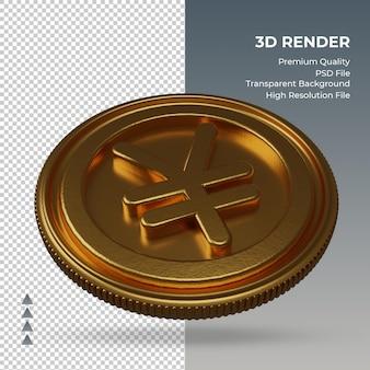 Moeda yuan chinês, símbolo da moeda ouro, renderização em 3d, vista esquerda