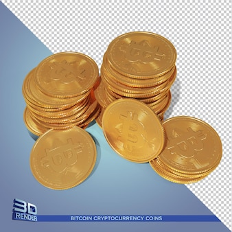 Moedas de ouro bitcoin criptomoeda renderização 3d isolada