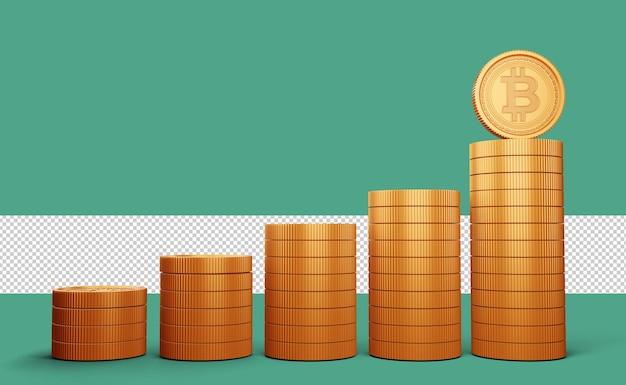 Moedas de ouro com símbolo de criptomoeda bitcoin renderização em 3d