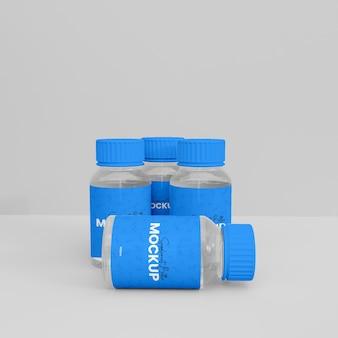 Mokup de frasco de suplemento de plástico 3d