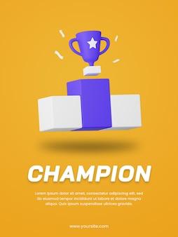 Molde do projeto do cartaz do troféu do campeão 3d render. projeto de ilustração do esporte.