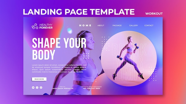 Molde o modelo da página de destino do seu corpo