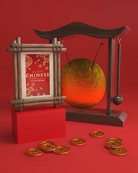 Moldura asiática e decorações para o ano novo