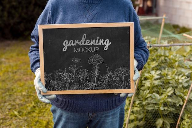 Moldura com mensagem de jardinagem