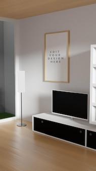 Moldura da sala de estar - maquete potrait com grama