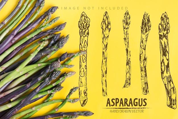 Moldura de canto de lanças de aspargos orgânicos crus cultivados em casa para cozinhar alimentos saudáveis de dieta vegetariana em um espaço de cópia de superfície amarela conceito vegan vista superior