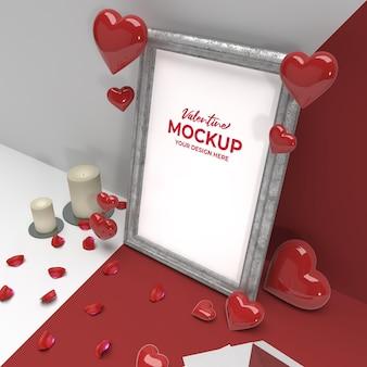Moldura de cerâmica para fotos românticas 3d dos namorados com maquete de ornamento de coração de correio de vela