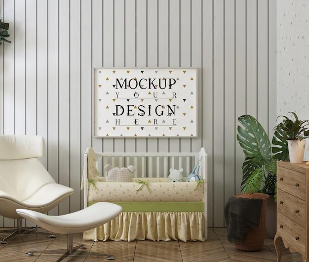 Moldura de foto em quarto de bebê moderno