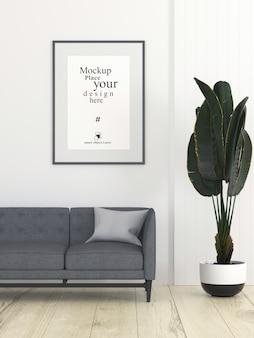 Moldura de foto vazia de maquete na sala de estar