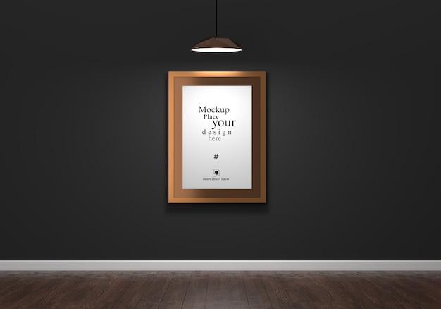 Moldura de foto vazia para maquete na sala de estar