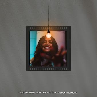 Moldura de fotos mockup com efeito de luz psd premium